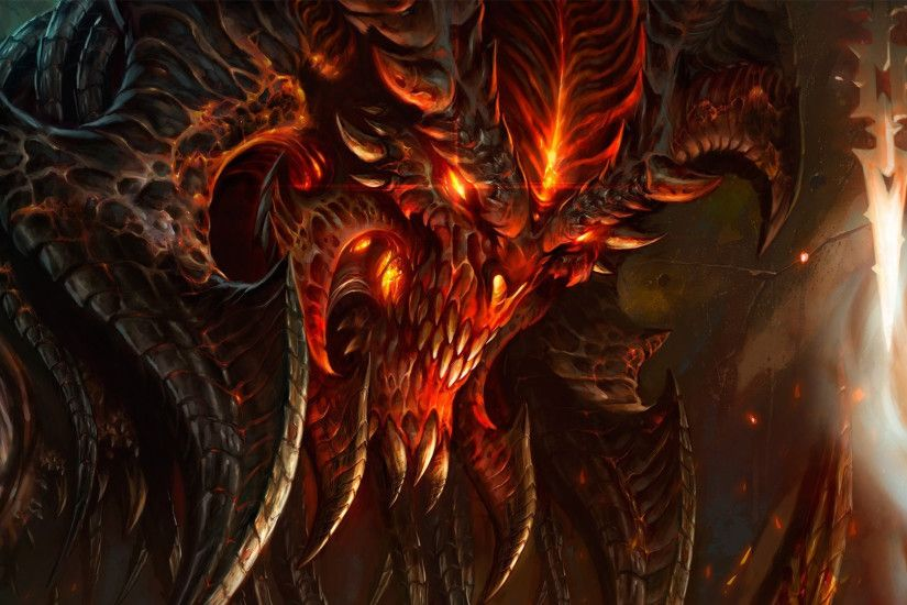 Preview wallpaper diablo 3, diablo, character, fire, monster, light, face