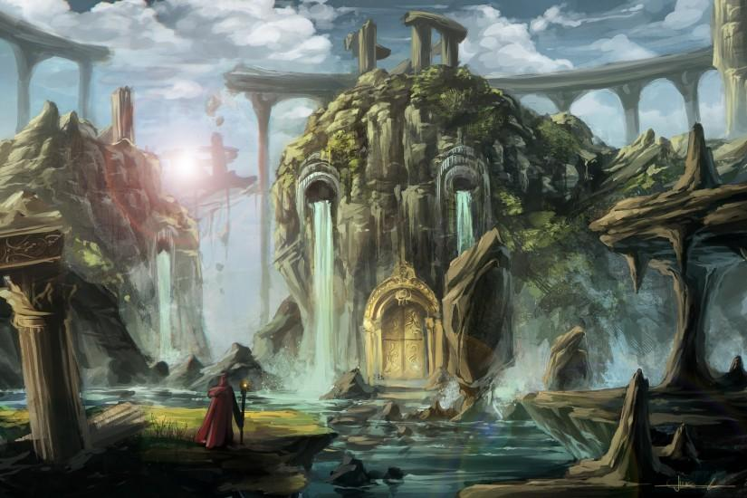 fantasy waterfall landscapes buildings castle rivers architecture wizard  mage magicains sorcerer art wallpaper
