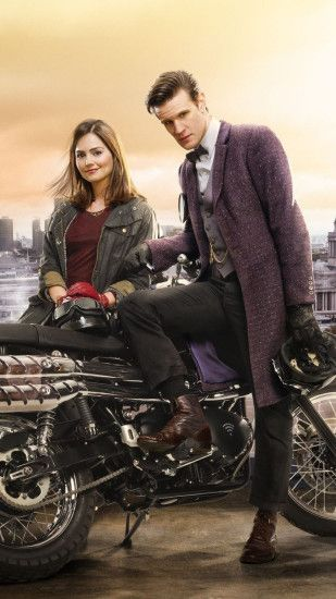 1080x1920 Wallpaper doctor who, matt smith, jenna-louise coleman,  motorcycle, london