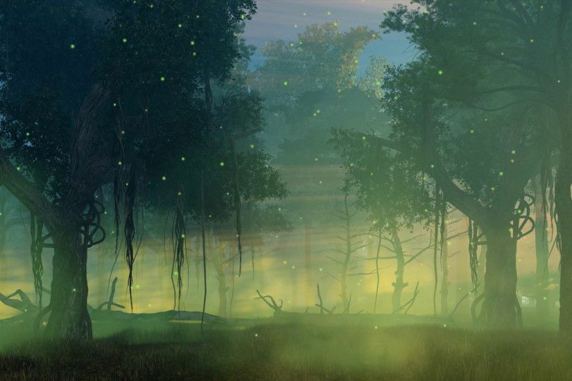Fairytale woodland scenery with magic firefly lights flying in the air in a  scary misty night