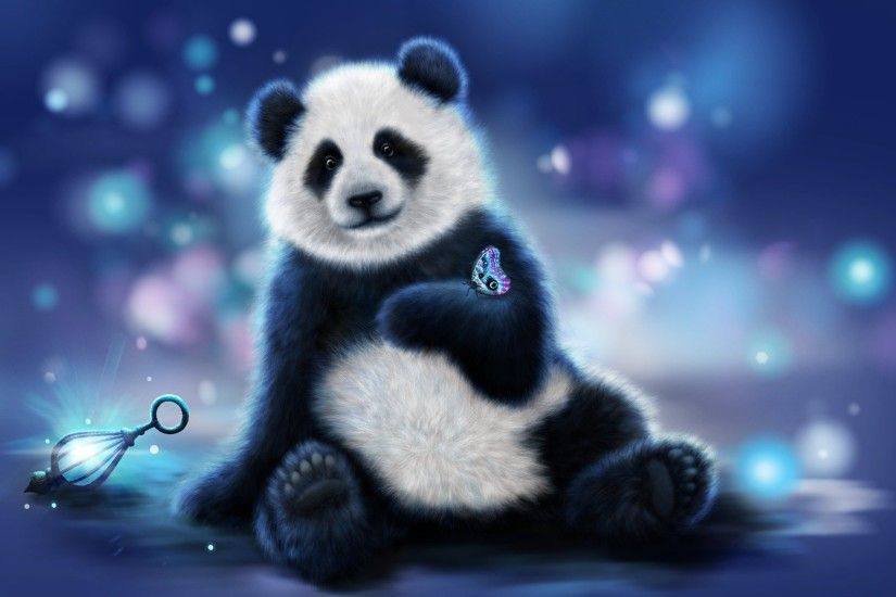 panda bear butterfly flowers background rendering