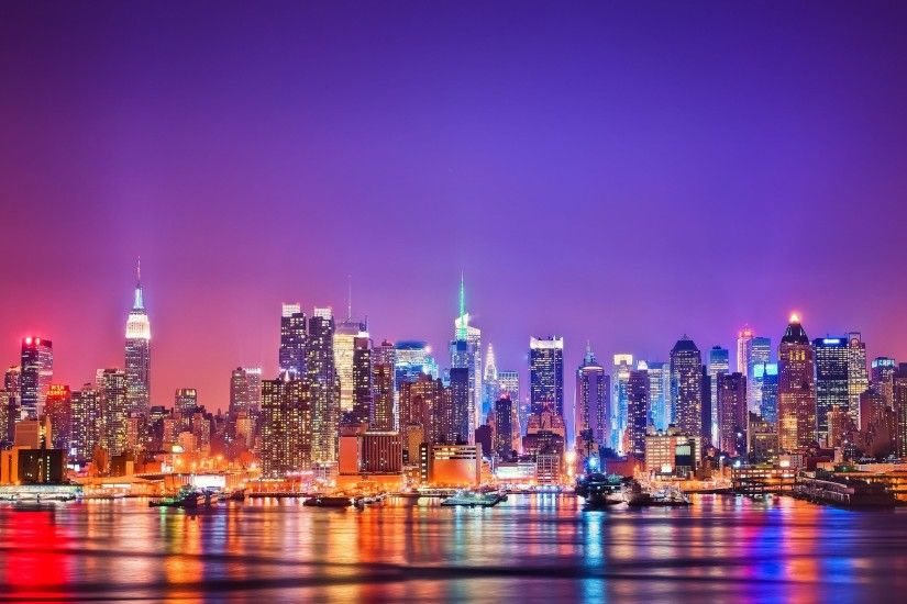 Beautiful New York City Light at Night Wallpaper in High Resolution.