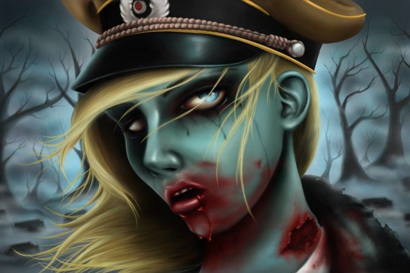 Army zombie girl, A wallpaper/background of a army zombie girl