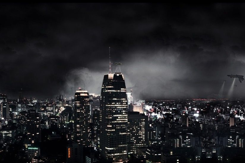 1920x1080 Wallpaper dark city, night, fantasy, skyscrapers