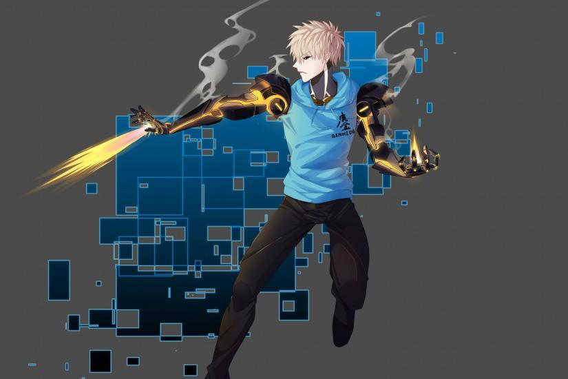 Genos shooting fire in One-Punch Man wallpaper 3840x2160 jpg