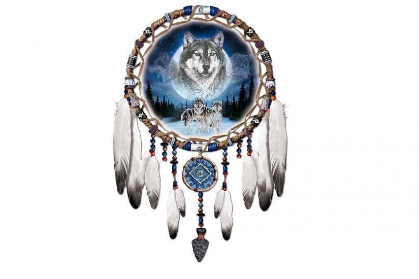 Dreamcatcher, dreamcatcher, wolves, feathers, white background, wolves .
