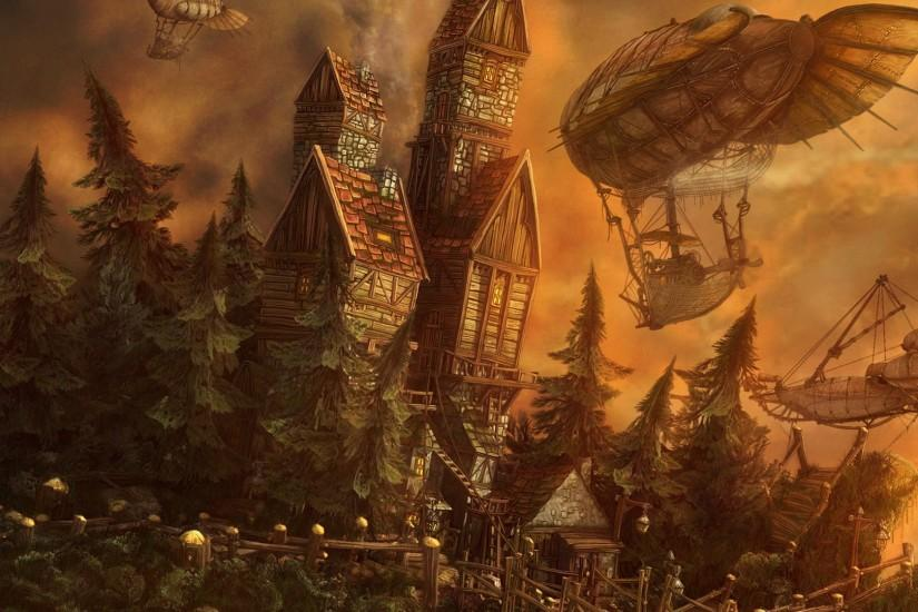 download free steampunk background 1920x1080