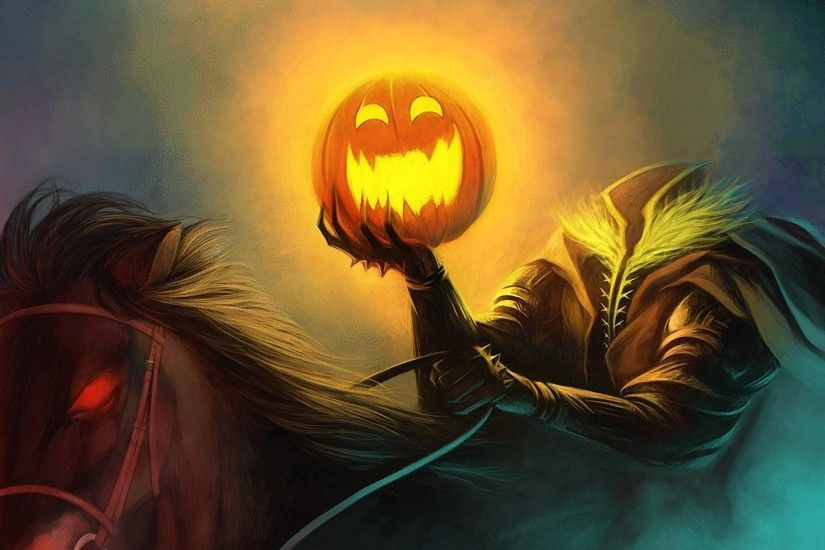 1920x1080 Wallpaper halloween, holiday, headless horseman, pumpkin, horse