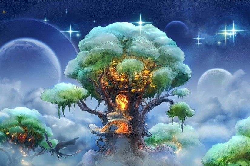 Preview wallpaper fantasy, tree, art, magic 1920x1080