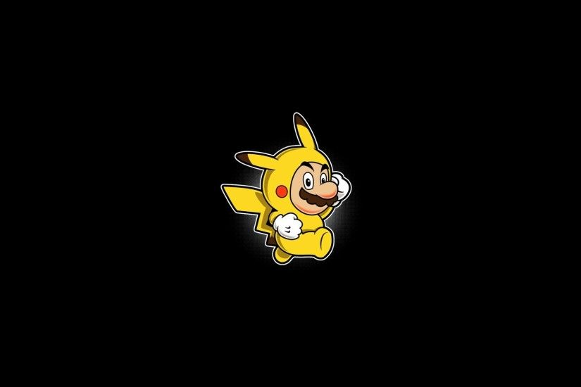 Abstract Black Background Mario Minimalistic Pikachu Pkemon Simple  Simplistic Solid