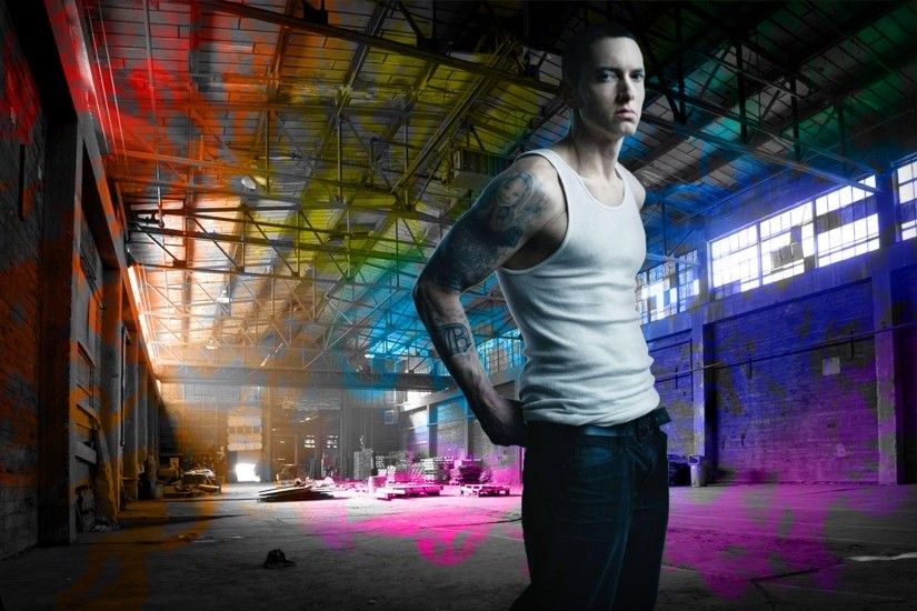 1920x1080 Wallpaper eminem, hangar, t-shirt, tattoo, look