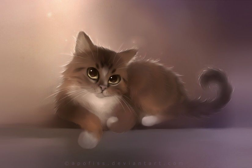 3840x2160 Wallpaper cat, apofiss, drawing, cute cat