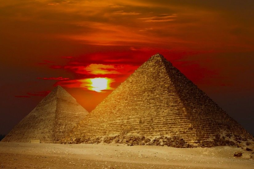 Giza Pyramids Egypt Red Sunset wallpapers and stock photos