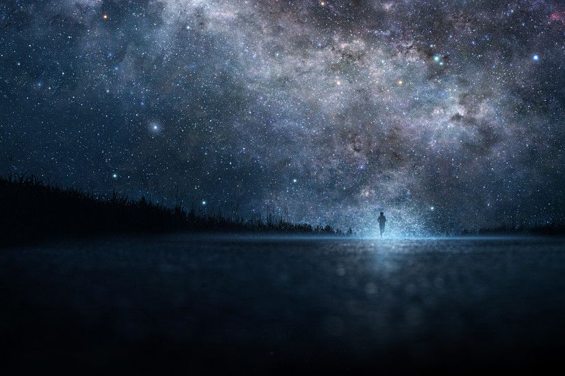 Preview wallpaper star, art, sky, night, people, silhouette 2560x1600