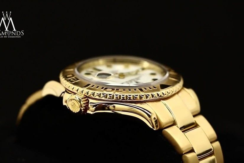 Rolex Yacht Master 16628 18K Yellow Gold White Dial Automatic Watch -  YouTube