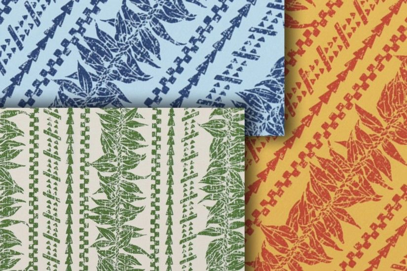 Fabric: Striped Polynesian tapa patterns and tropical leaf on a background  of blue, orange