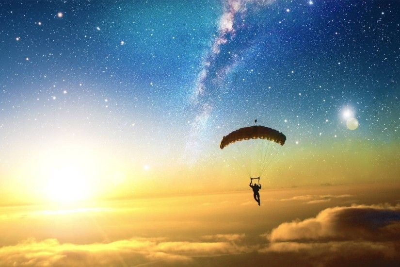 digital Art, Skydiving, Sun, Stars, Clouds, Liquicity, Parachutes Wallpapers  HD / Desktop and Mobile Backgrounds
