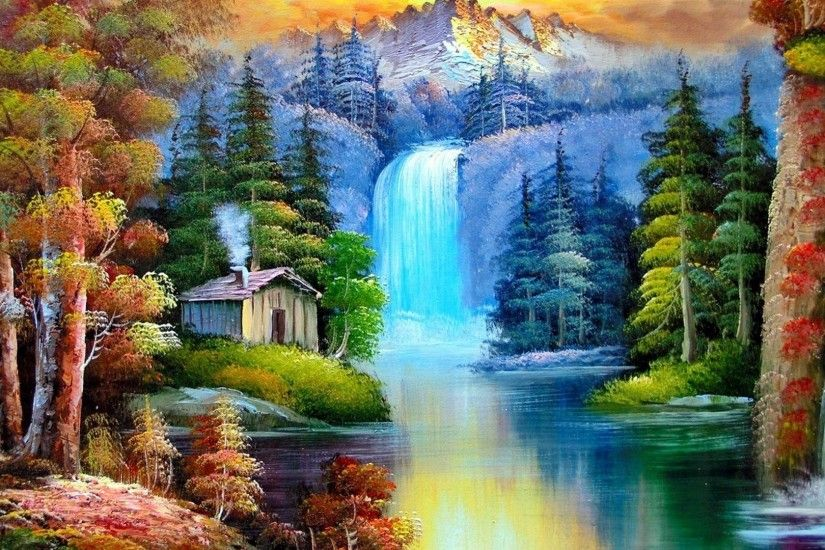 Download Waterfall Colorful Nature Painting Tree Waterfalls Animated Desktop  Wallpaper For Windows 7