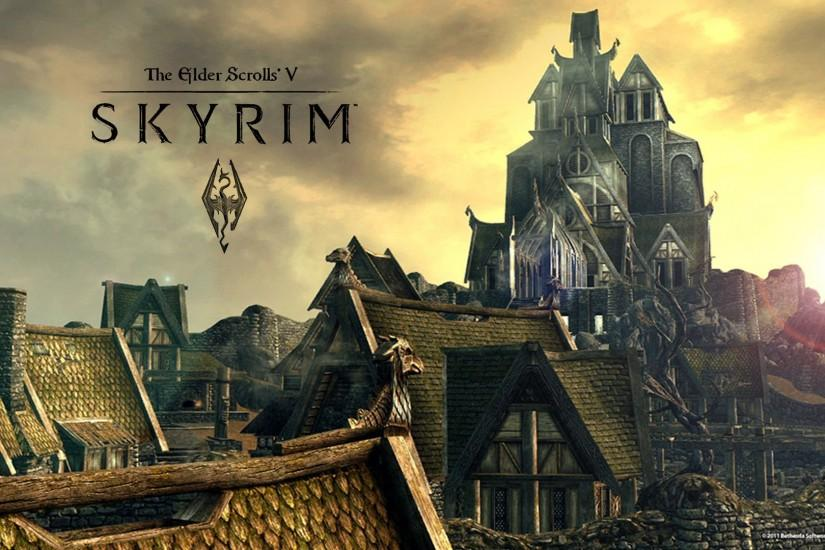 Games Wallpapers - TES V: Skyrim - Village Roofs 1920x1080 wallpaper