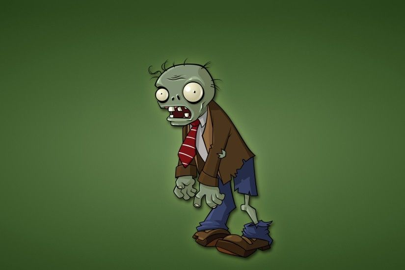 Preview wallpaper zombies, plants vs zombies, green background, minimalism,  red tie 3840x2160