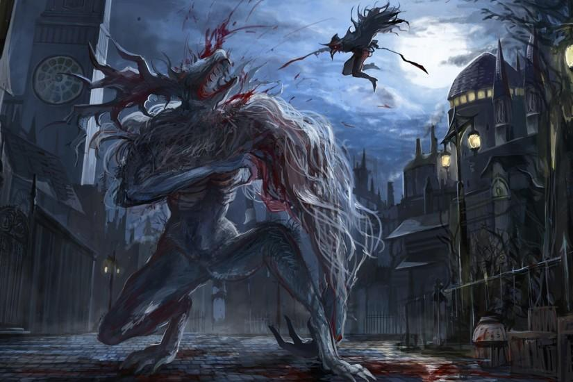 Download Bloodborne Game HD Art Figthing Monster 1920x1080