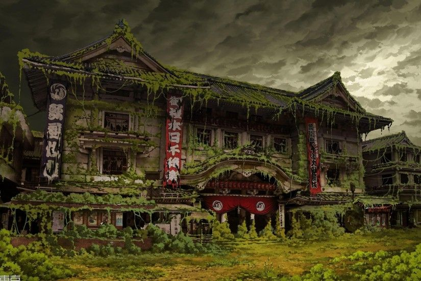 Asian architecture ivy tokyo tokyogenso abandoned wallpaper