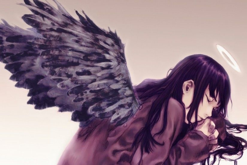 Angel with black wings wallpaper