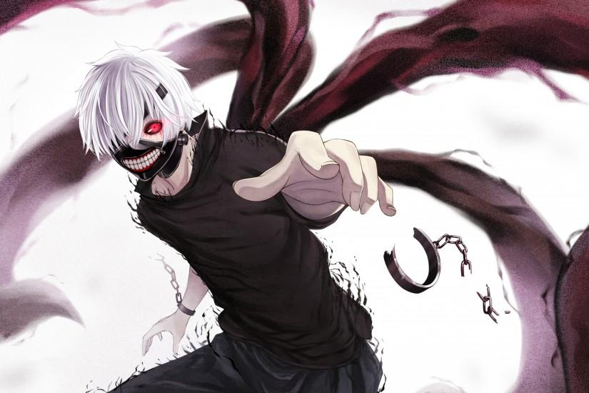 Preview wallpaper kaneki ken, tokyo ghoul, look, mask, claws, handcuffs,