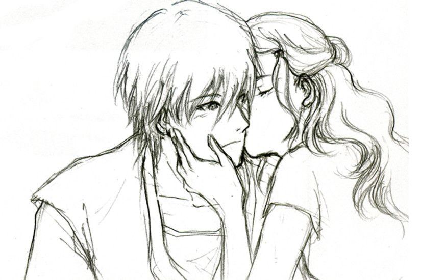 Sketches For Simple Girl Hd Wallpapers Simple Boy And Girl Pencil Drawing  Hug Pic – Drawing