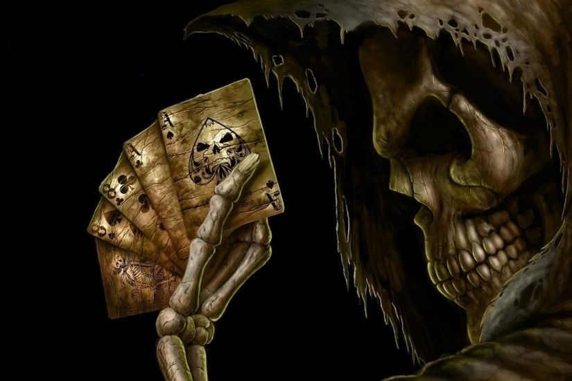 Dark Grim Reaper Horror Skeletons Skull Creepy Cards Games Poker Ace Spades  Wallpaper At Dark Wallpapers