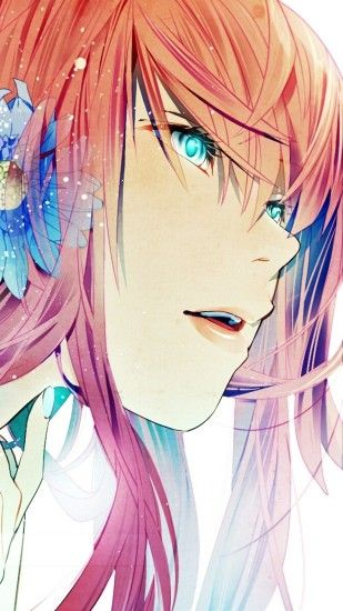 Preview wallpaper megurine luka, girl, blue eyes, pink hair flower 1080x1920