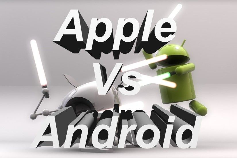 3D wallpaper of Android vs Apple