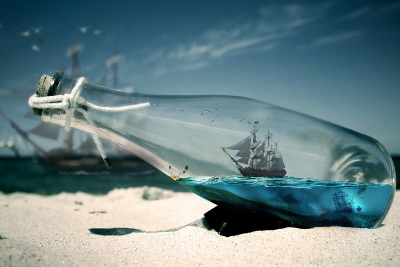 water sea bottles ships Pirates of the Caribbean - Wallpaper (#1664888) /  Wallbase