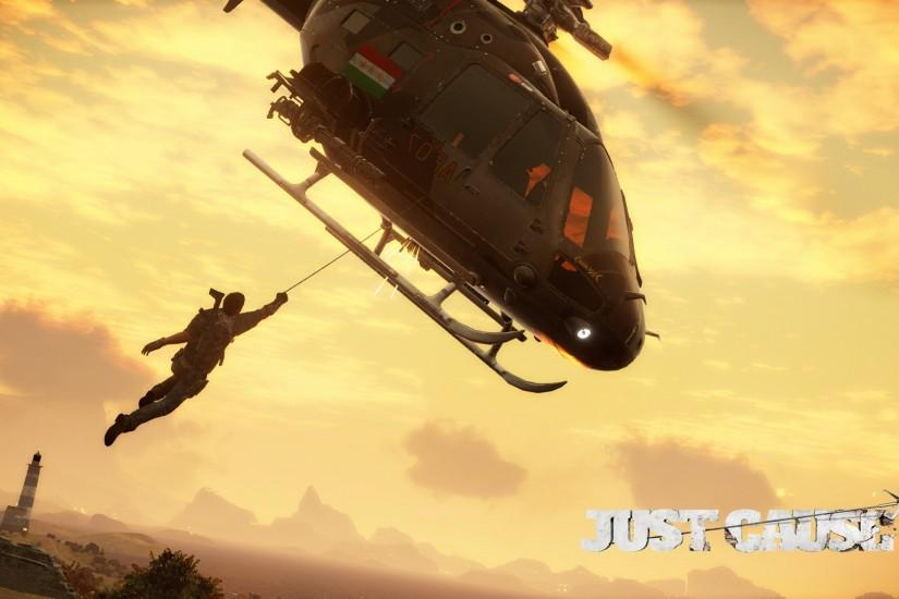 Rico Rodriguez hanging from a helicopter - Just Cause 3 wallpaper 1920x1080  jpg
