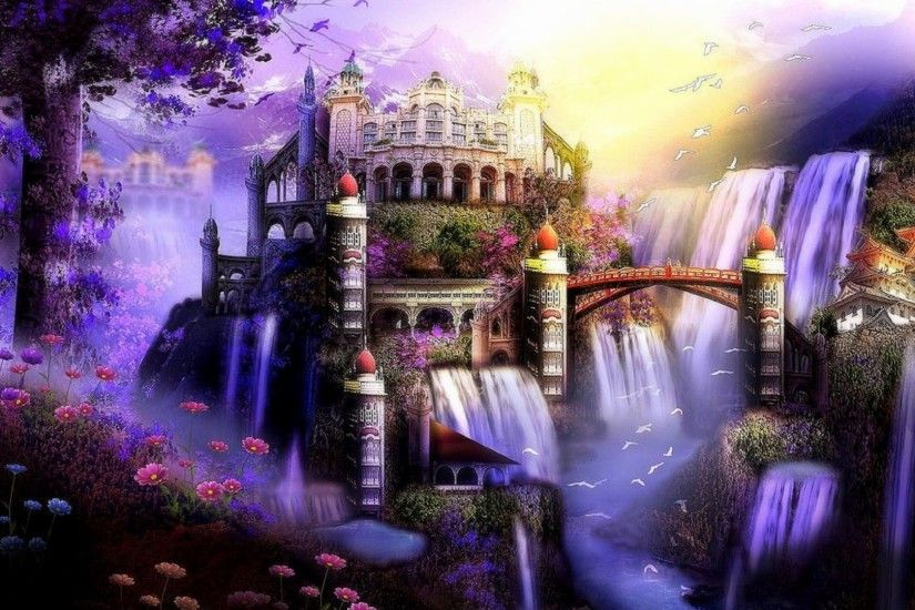 flying tag super purple waterfalls xmas new year castle butterfly designs  flying birds flowers attractions
