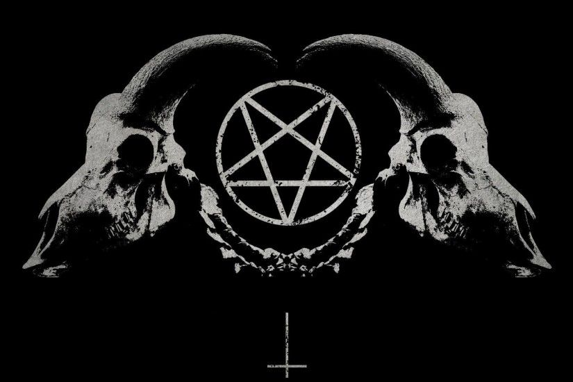 1920x1080 dark horror gothic occult satan penta symbol skull horns wallpaper