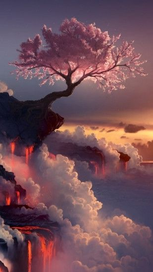 ... Fantasy Pink Cherry Blossoms Cloudy Mountain Top Skyscape Paint Art  iPhone 8 wallpaper ...
