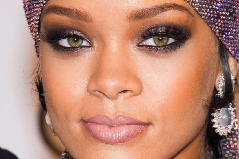 Preview wallpaper rihanna, face, singer, makeup 1920x1080