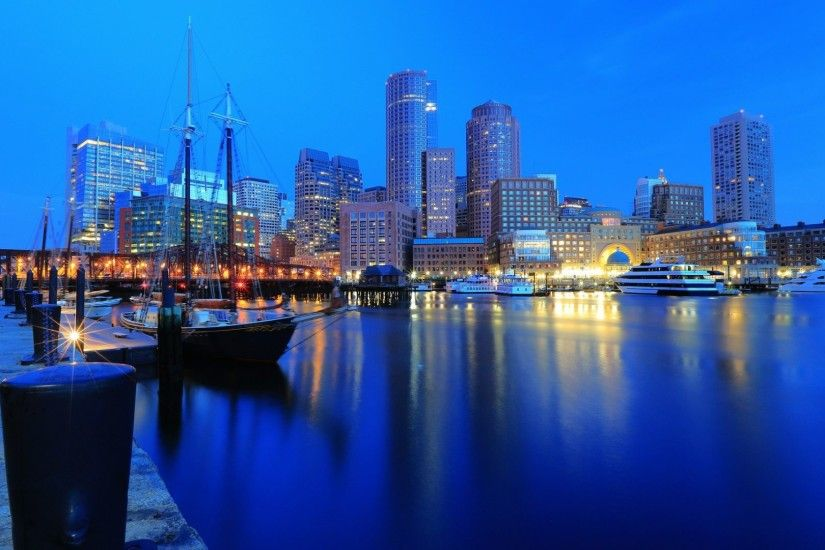 Skyscrapers - Boston Blue Skyscrapers Sky Skyline Nature Sailing Sailboats  Buildings City Sea Full HD Wallpaper