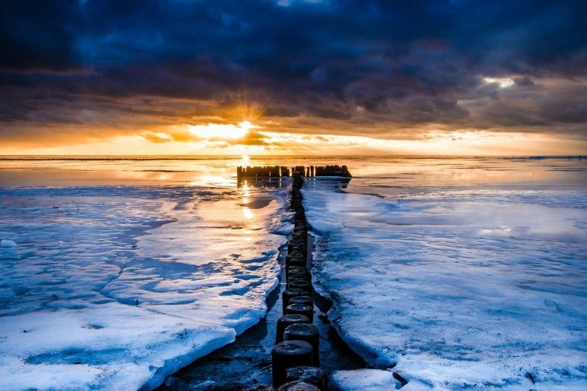 widescreen,nature, winter ice, sunrise, macbook, water, river, colourful,hd  nature wallpapers, sunset, sea, ocean, scenery Wallpaper HD