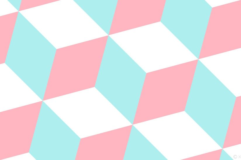 wallpaper 3d cubes blue white pink pale turquoise light pink #afeeee  #ffb6c1 #ffffff
