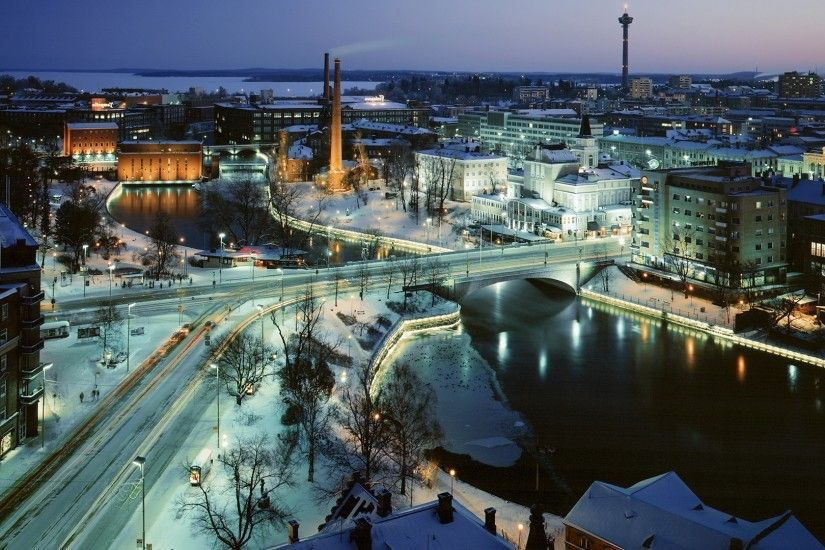 city, Long Exposure, Street, Finland, Snow, Bridge, River Wallpapers HD /  Desktop and Mobile Backgrounds