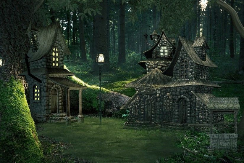 Artistic - Fantasy Artistic Cottage Forest Green Magical Wallpaper