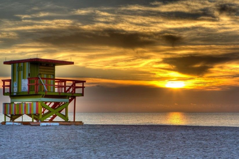 south beach miami united states night sunset sun sky clouds sea ocean sand  beach the tower