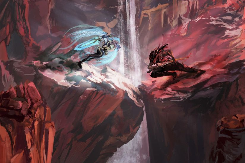 Dawnbringer Riven Vs Nightbringer Yasuo By Mattbam 2 HD Wallpaper Background Fan Art Artwork
