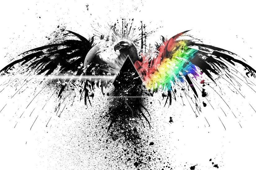 Preview wallpaper pink floyd, bird, graphics, spray, colors 2560x1600