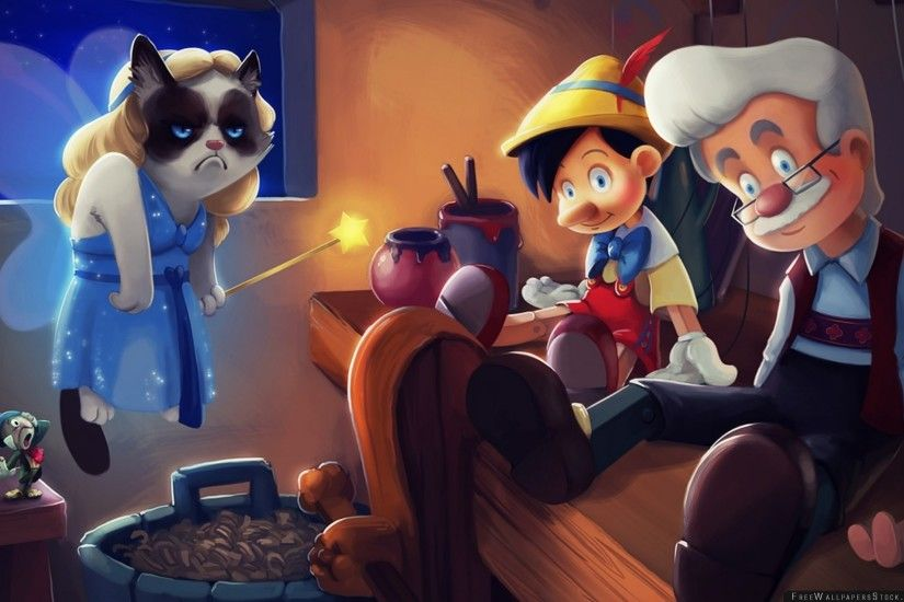 Download Free Wallpaper Grumpy Cat Pinocchio Cartoon