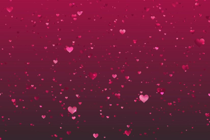 Pink hearts rising on a dark pink background.