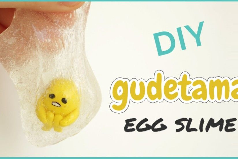 DIY Gudetama Egg Slime | DIY Clear Slime & Polymer Clay Tutorial | ぐでたま  Easter Gift Idea - YouTube