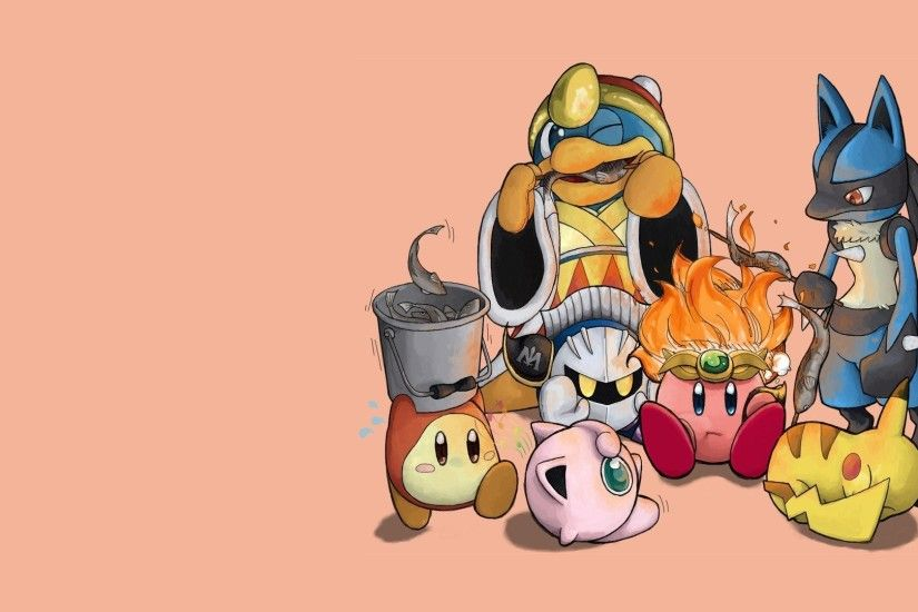 Kirby Pokemon video games Pikachu King Dedede camping simple background  Lucario Jigglypuff Metaknight Super Smash Brothers
